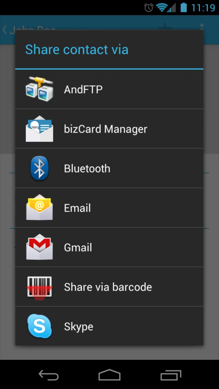 Send and receive business cards (vCard) via SMS on Android ...