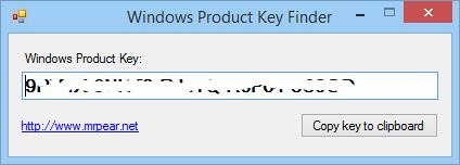 Yet Another) Product Key Number Finder for Windows   mrpear.net